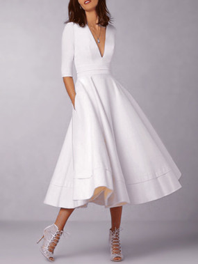 White Deep V Neck Half Sleeves Swing Dresses