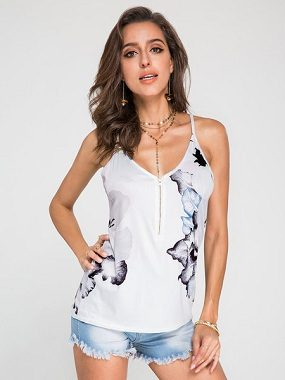 White Random Floral Print V-neck Cami with Zipper Design