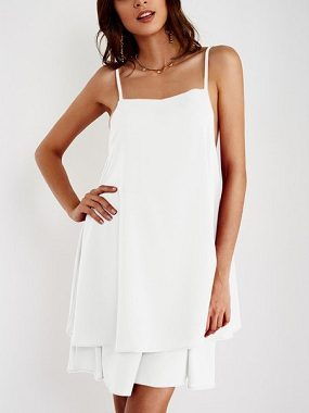White Adjustable Shoulder Straps Crew Neck Sleeveless Dresses