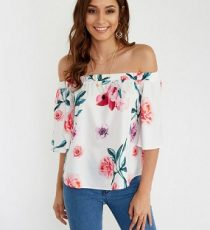 Off Shoulder Random Floral Print Blouse in White