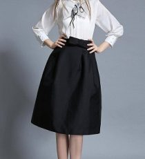 Black High Waist Full Midi Skirt with Bowknot