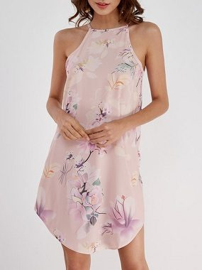 Pink Floral Print Crew Neck Sleeveless Dresses