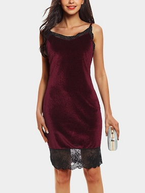 Burgundy Lace Details V-neck Sleeveless Mini Dress
