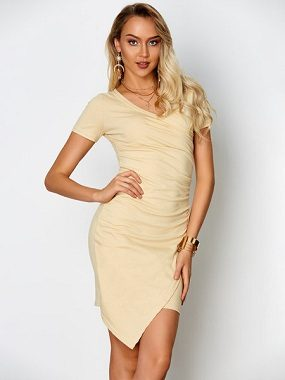 Khaki Pleated V-Neck Irregular Hem Dress