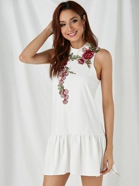 White Randam Embroidery Halter Sleeveless Dress