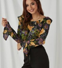 Random Floral Print Long Sleeves Crop Top